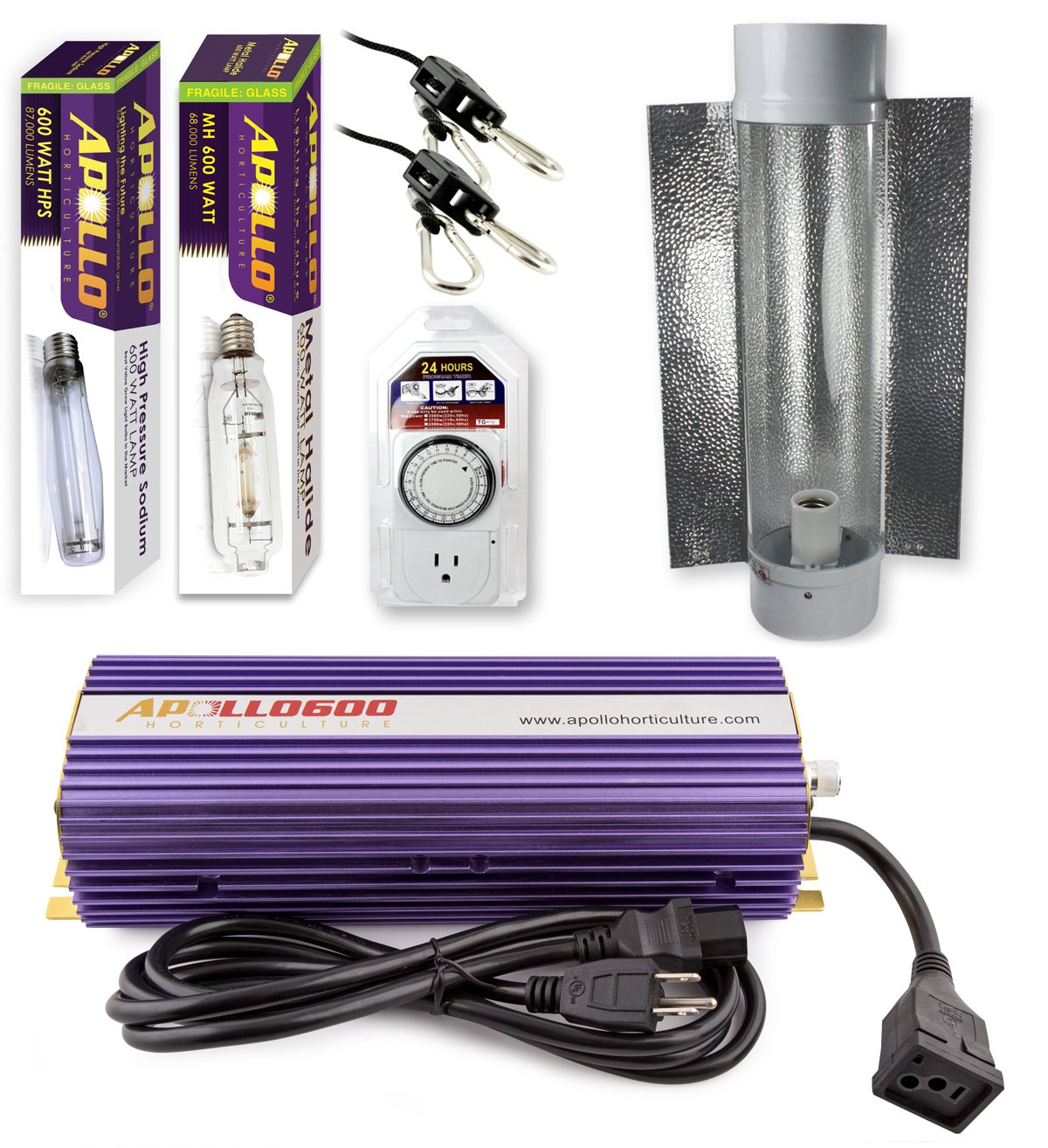 Apollo Horticulture GLK600CT24E 600 Watt Grow Light Digital Dimmable HPS MH System for Plants Cool Tube Hood Set