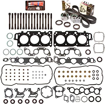 Evergreen HSHBTBK2049 Head Gasket Set Head Bolts Timing Belt Kit Fits 04-10 Toyota Lexus 3.3 DOHC 3MZFE