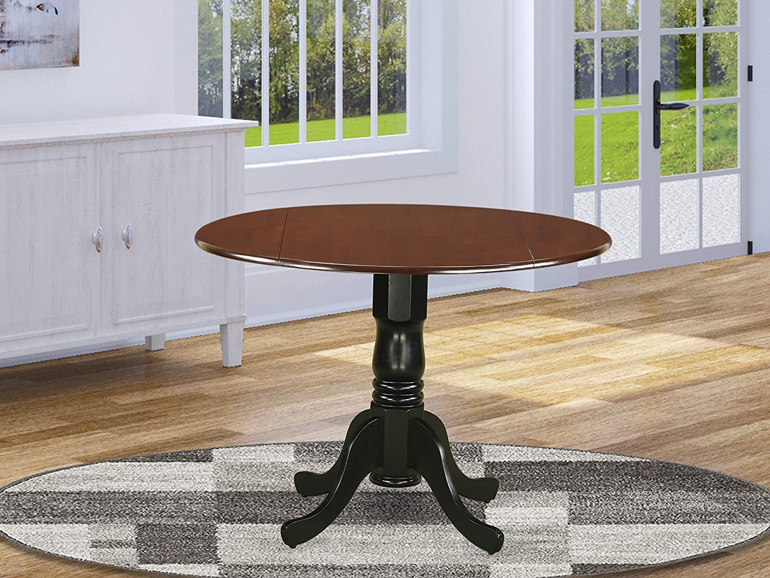 "East West Furniture Dublin Round Table with two 9"" Drop Leaves in Mahogany and Black Finish, Mahogany & Black"