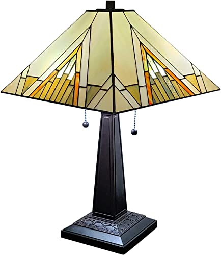 Amora Lighting Tiffany Style Table Lamp Banker Mission 23 Tall Stained Glass Tan Brown Vintage Antique Light D cor Night Stand Living Room Bedroom Handmade Gift AM348TL14, Multicolor