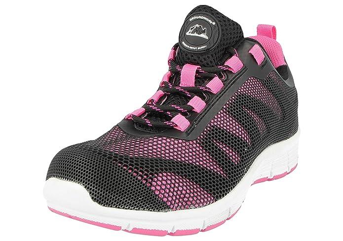 Color Negro Ladies Bases Puntera de ACERO Seguridad Trabajo Entrenador Zapatos de Encaje Ultra Ligera Talla 40 EU