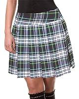 Green and White Schoolgirl Tartan Plaid Pleated Skirt Edinburgh Junior Long