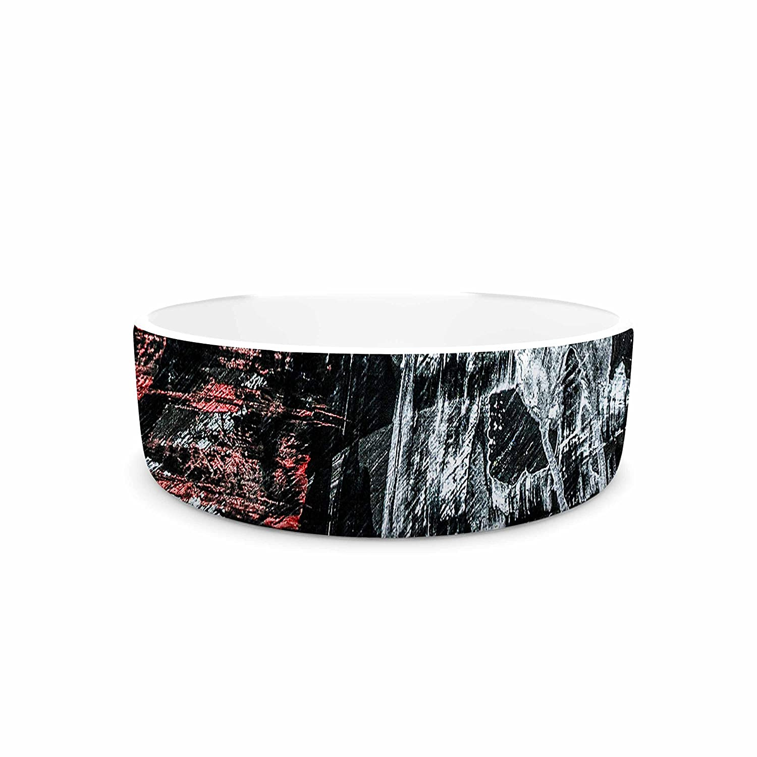 7\ KESS InHouse Bruce Stanfield Areus  Red Abstract Pet Bowl, 7