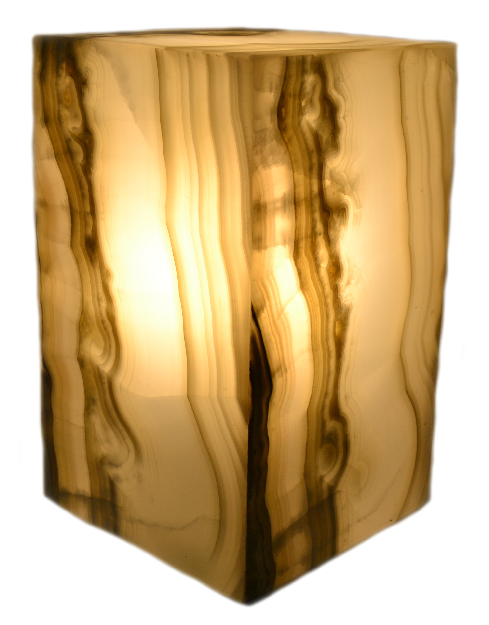 Misty Grey Stone Prism Lamp, 10'' Tall, Carved From Real North American Onyx - The Artisan Mined Series by hBAR by hBARSCI
