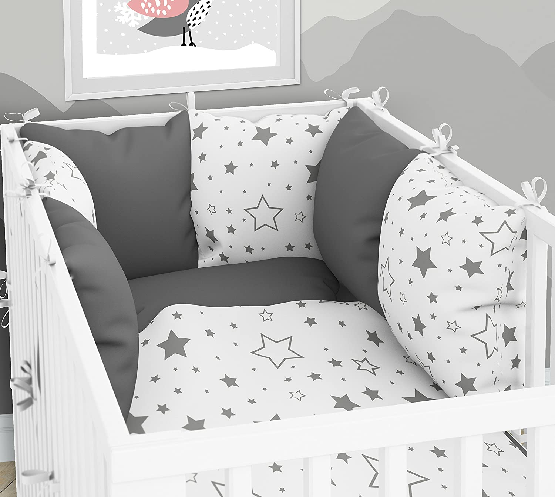 3-teiliges Set: Babybett-Wä sche 90 x 120 cm mit Spannbettlaken und Kissen-Nestchen - sechs Kissen samt Bezü gen fü r das Babybett 60 x 120 cm KLARA BRIST
