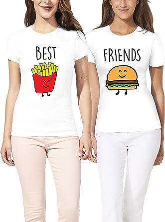 VIVAMAKE® Pack 2 Camisetas de Mujer Originales para Mejores Amigas con Diseño Hamburguesa y Patatas Fritas: Amazon.es: Ropa y accesorios