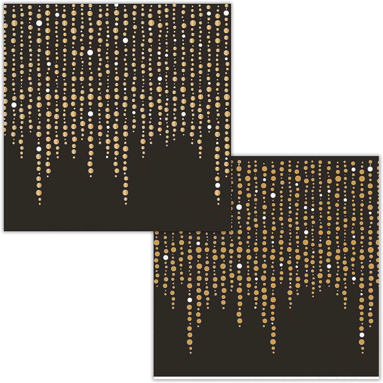 Black and Glittering Gold Foil Dots Beverage Napkins by Elise, 48 ct