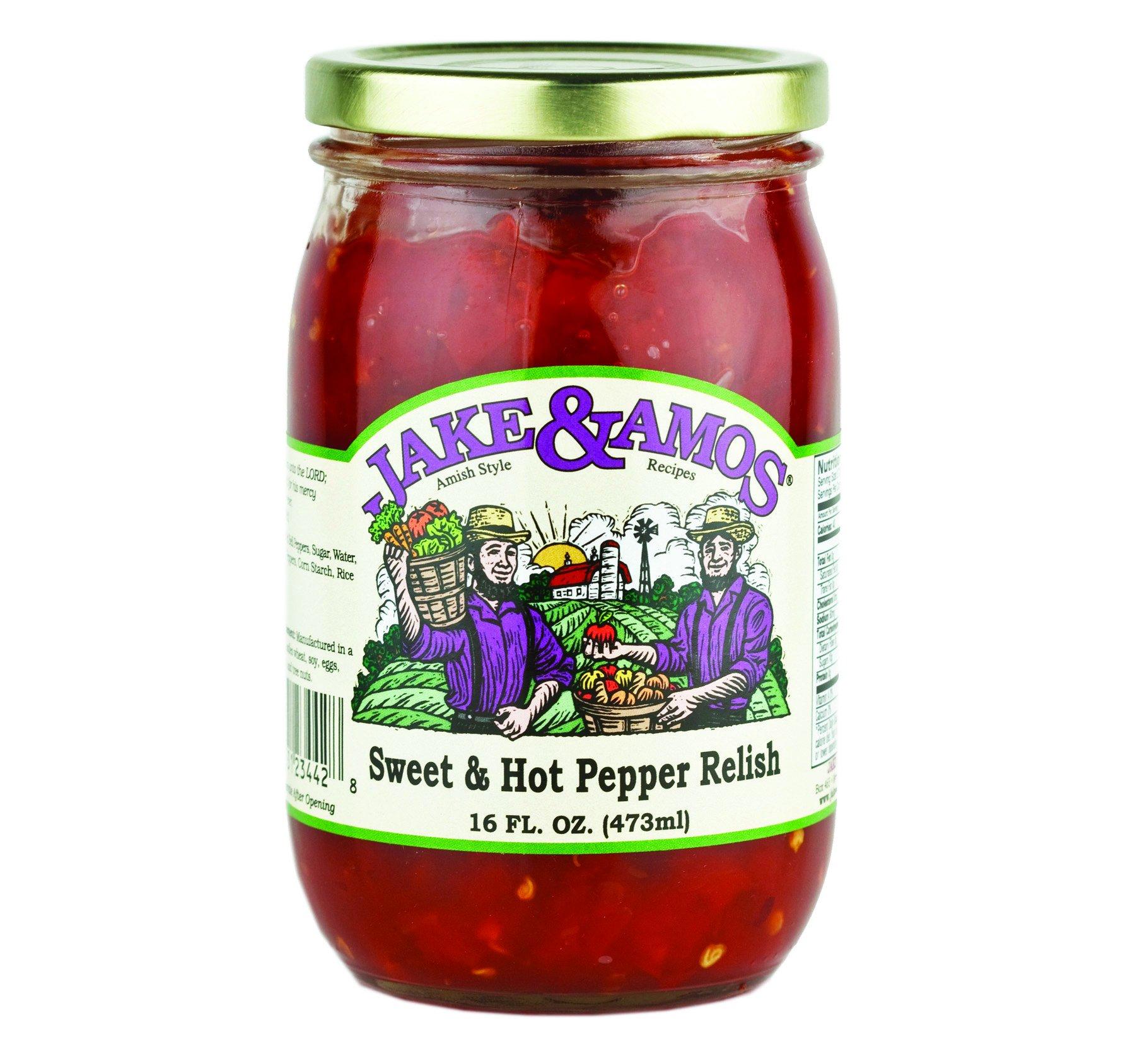 Jake & Amos Sweet & Hot Pepper Relish 16 oz. (3 Jars)