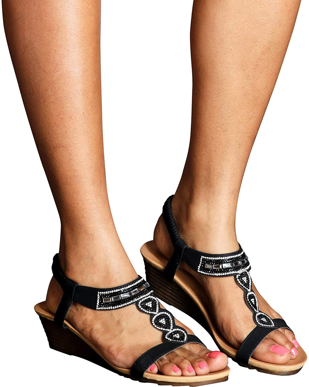Lucita Womens Casual Rhinestone Low Wedge Sandals