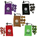 RPG Gaming Polyhedral Dice Set by Dragon Bones - 5x7 Colors - D4 D6 D8 D10 D12 D20 D100 - Play Dungeons and Dragons, Pathfinder, MTG, Roleplaying & Board Games - STARTER PACK - 5 FREE Bags Included