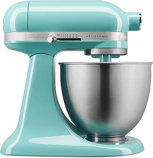Amazon Com Kitchenaid Ksm3311xaq Artisan Mini Series Batidora De Pie Inclinable 3 5 Cuartos De Galón Azul Cielo Kitchen Dining