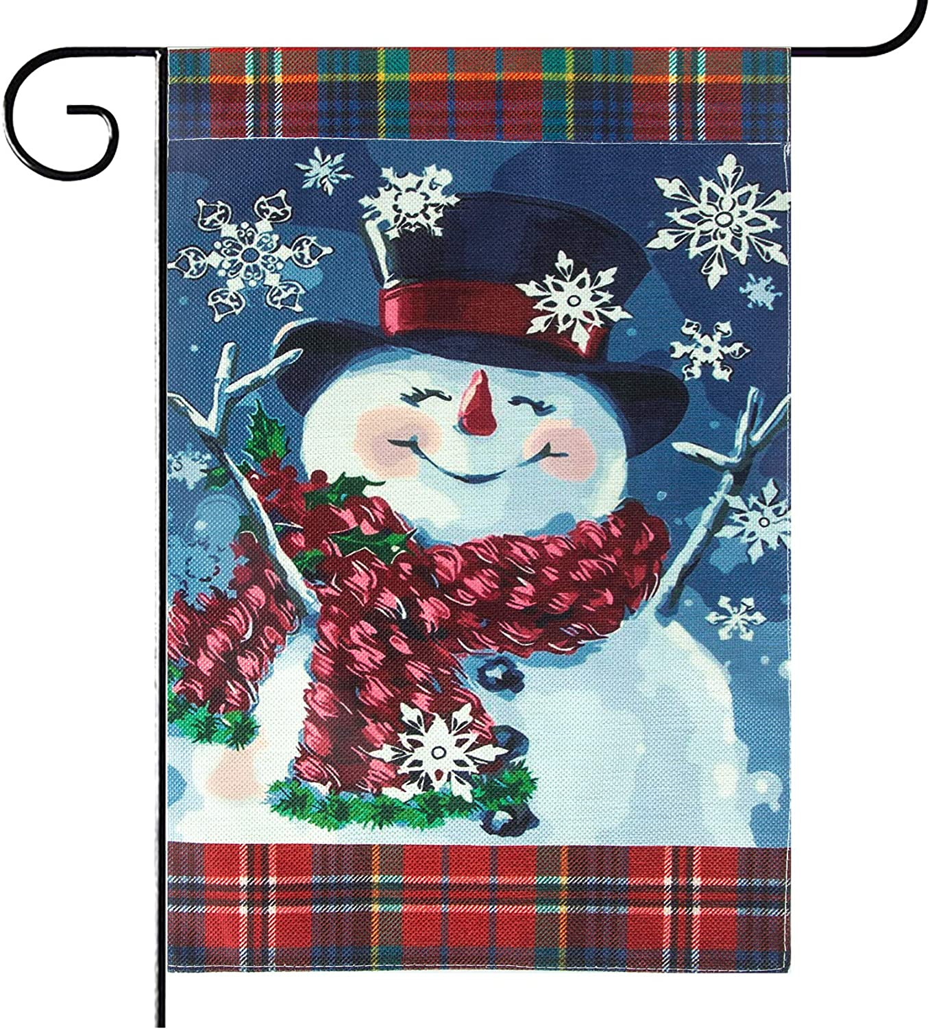 Unves Christmas Garden Flag 12.5 X 18, Smile Snowman with Red Scarf Snowflake Christmas Yard Flag Vertical Double Sized, Winter Holiday Primitive Vintage House Outdoor Decorations