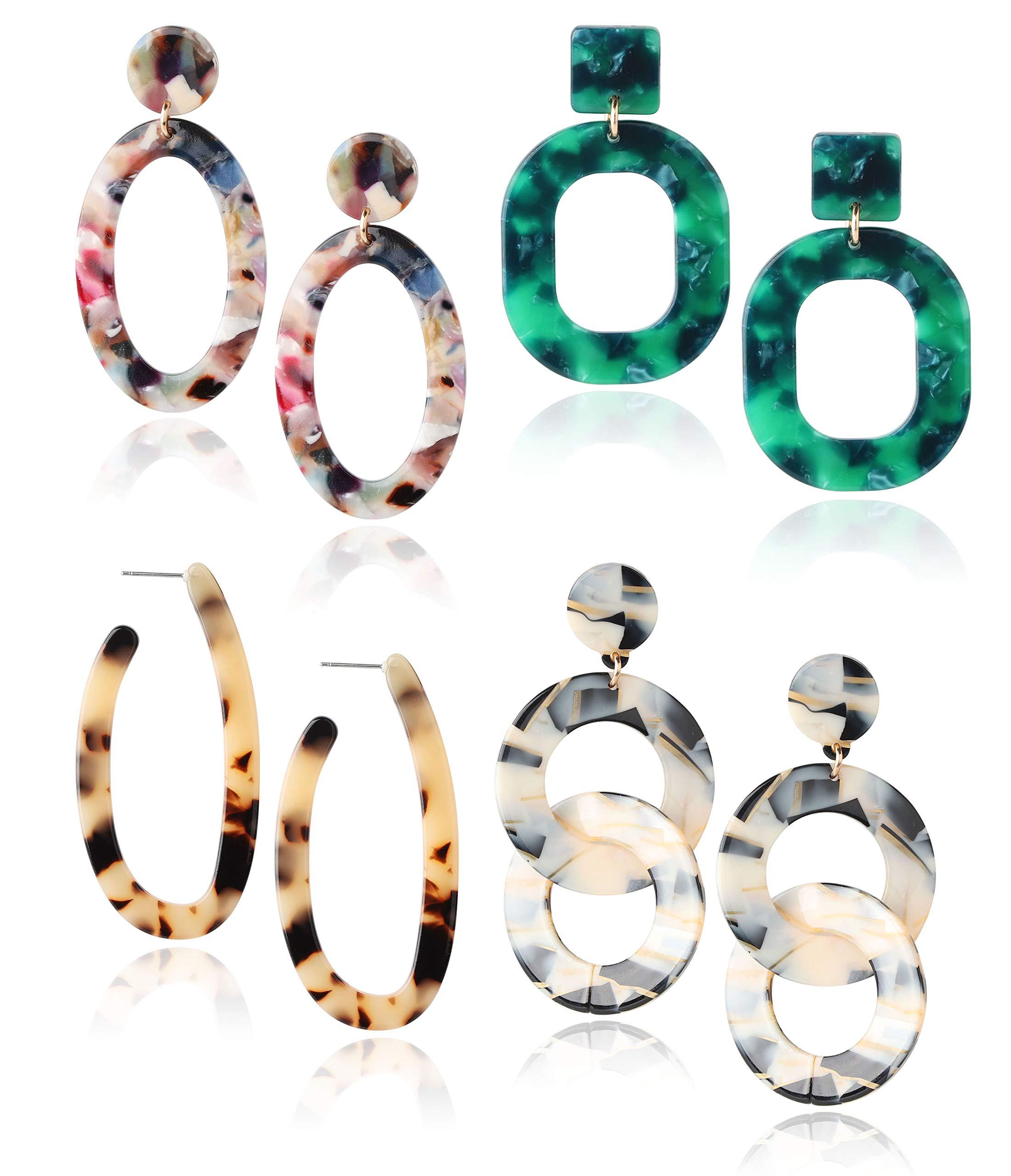 Finrezio 4 Pairs Mottled Acrylic Dangle Drop Earrings for Women Resin Stud Earrings Bohemian Statement Drop Dangle Earrings Fashion Jewelry