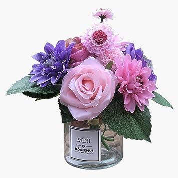 Amazon Com Billibobbi Artificial Flowers With Vase Faux Rose Dahlia Chrysanthemum In Transparent Vase Faux Flower Arrangements For Home Decor Purple Small Furniture Decor