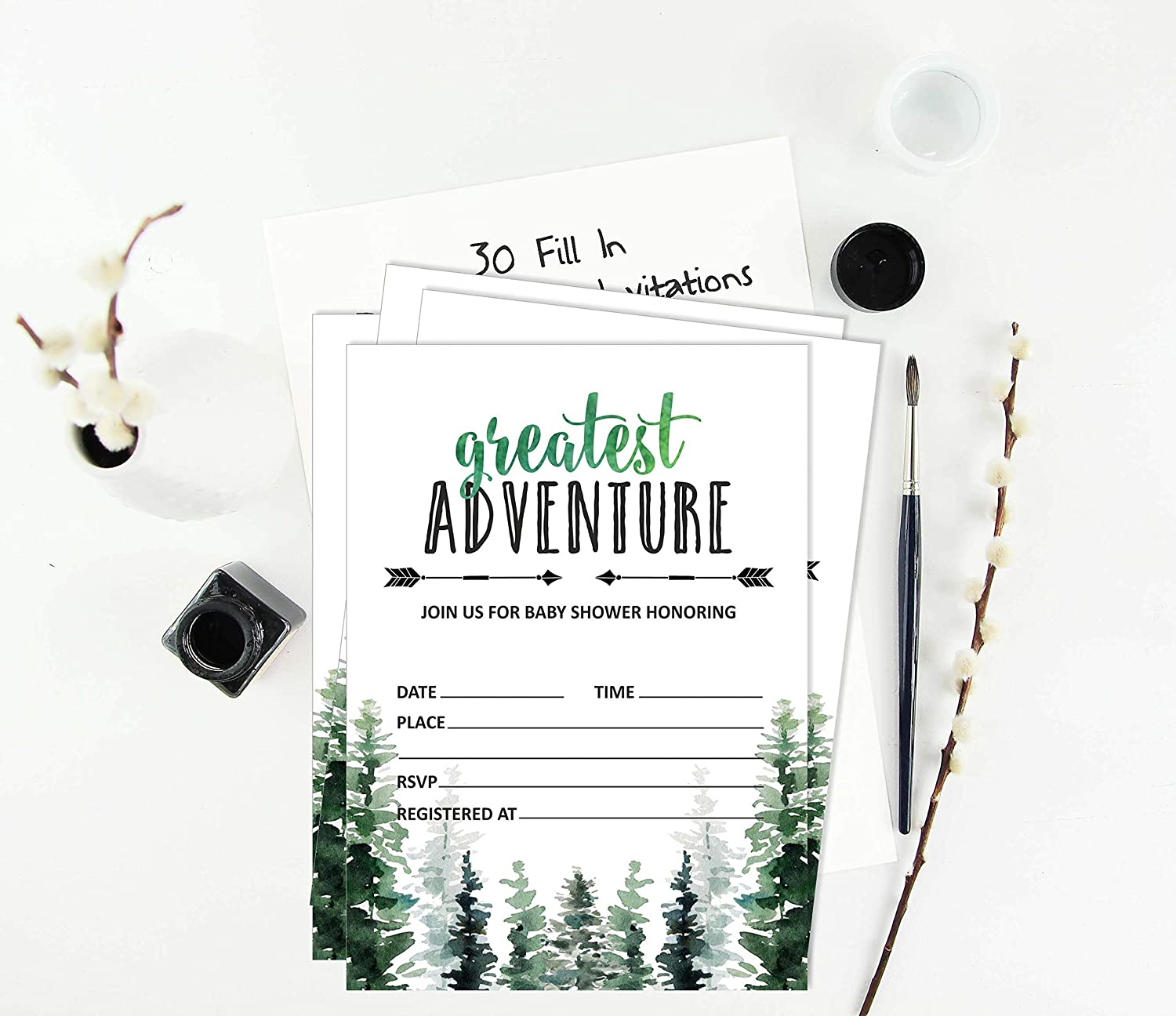 Inkdotpot 30/Jungle Animals Greatest Adventure Baby Shower Book Request Cards Bring A Book Instead of A Card Baby Shower Invitations Inserts Games
