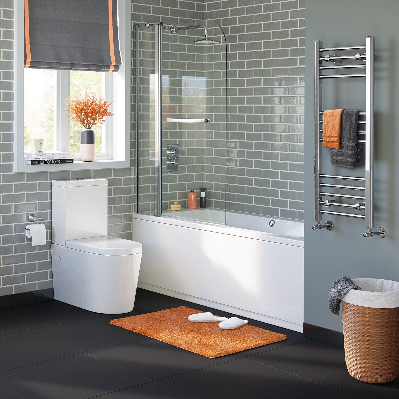 Mampara de cristal iBathUK fácil de limpiar (1000 mm y toallero ...