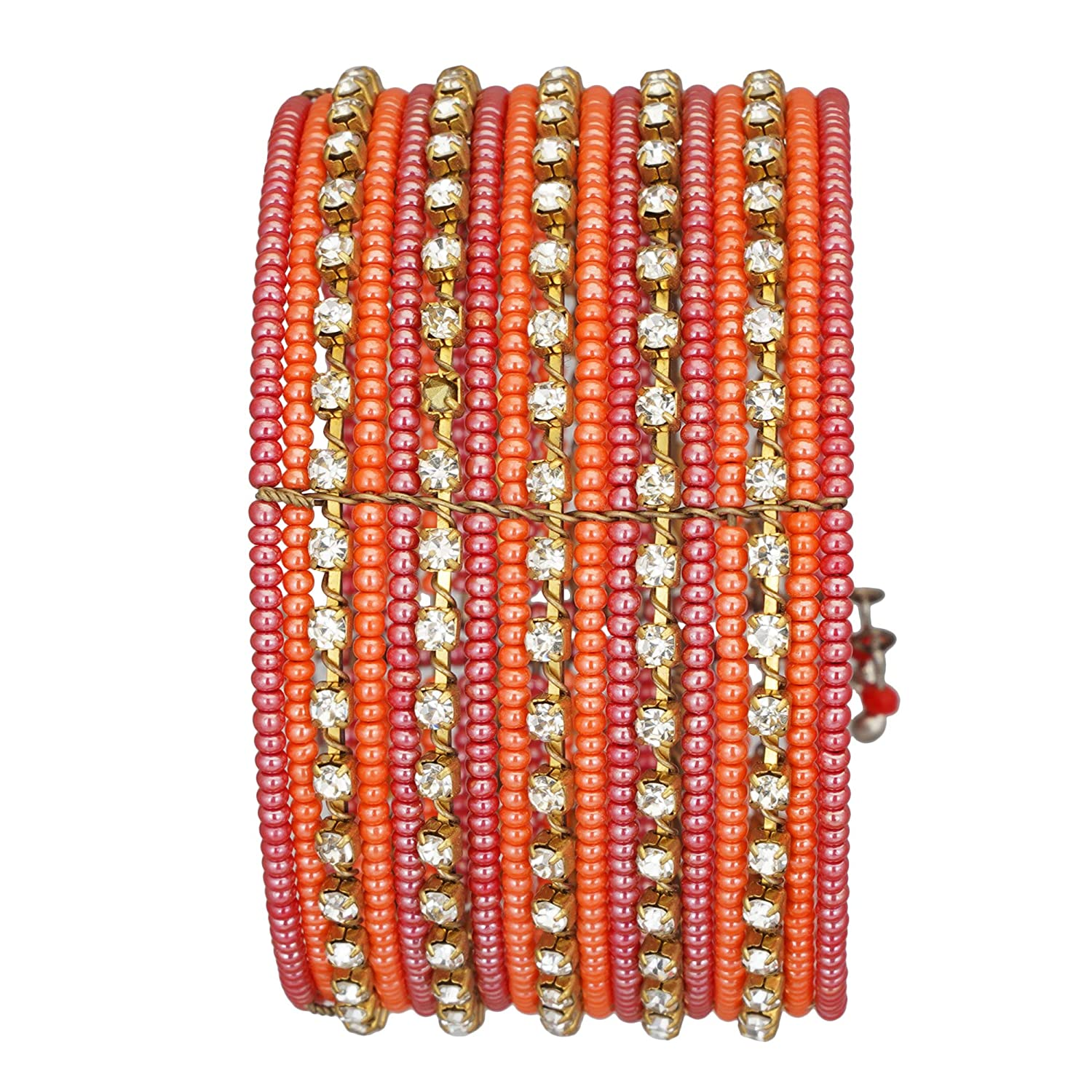 El Allure Glass Seed Bead Red Orange and Gold Spiral Adjustable Partywear Trendy Handicraft Indian Style Bangle with Big Zircon Stone Fine Bangle for Women