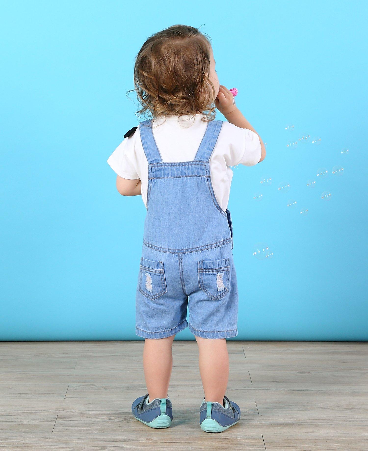 Kidscool Baby & Toddler Girls/Boys Big Bibs Ripped Hole Summer Jeans Shortalls,Light Blue,4-5 Years by Kidscool (Image #3)