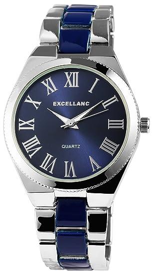 Reloj mujer azul plata números romanos Analógico de Cuarzo Metal Reloj de pulsera