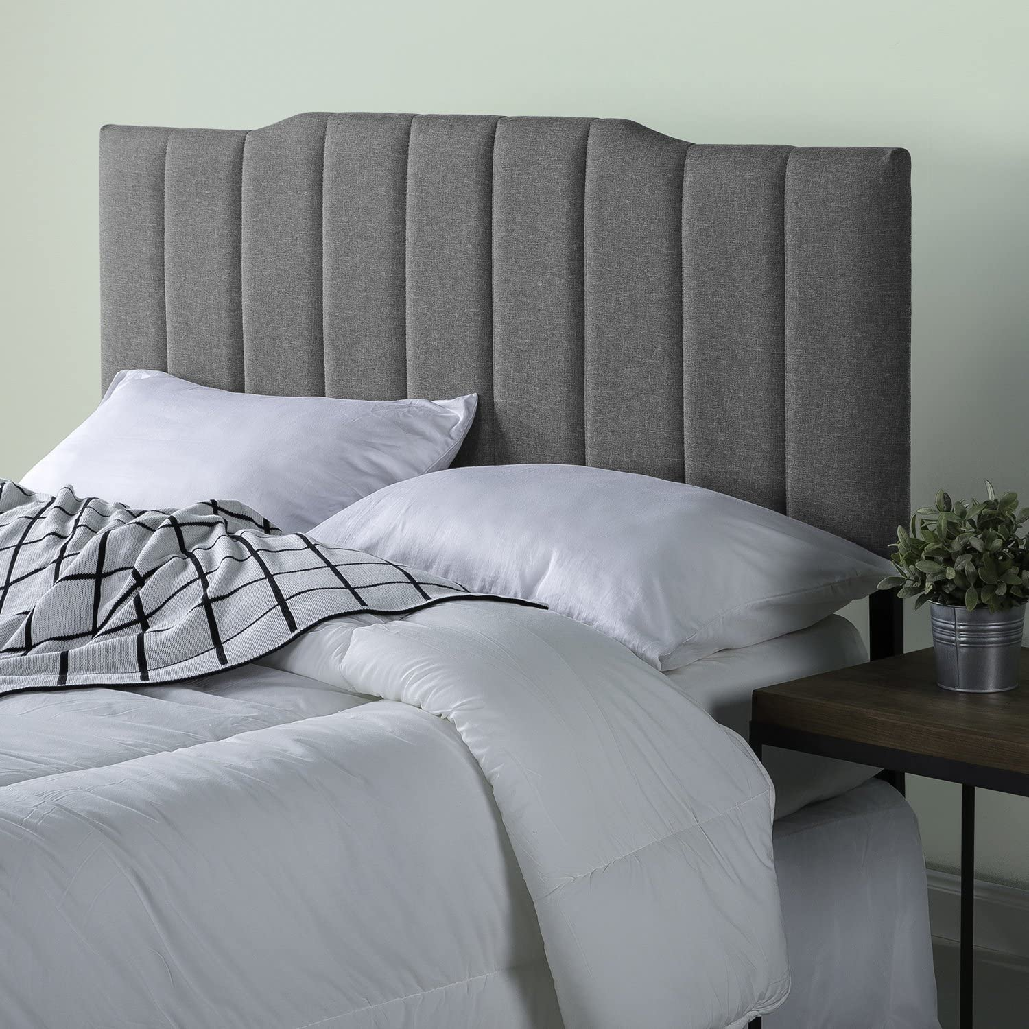 Zinus Satish Upholstered Channel Stitched Headboard in Grey, Queen