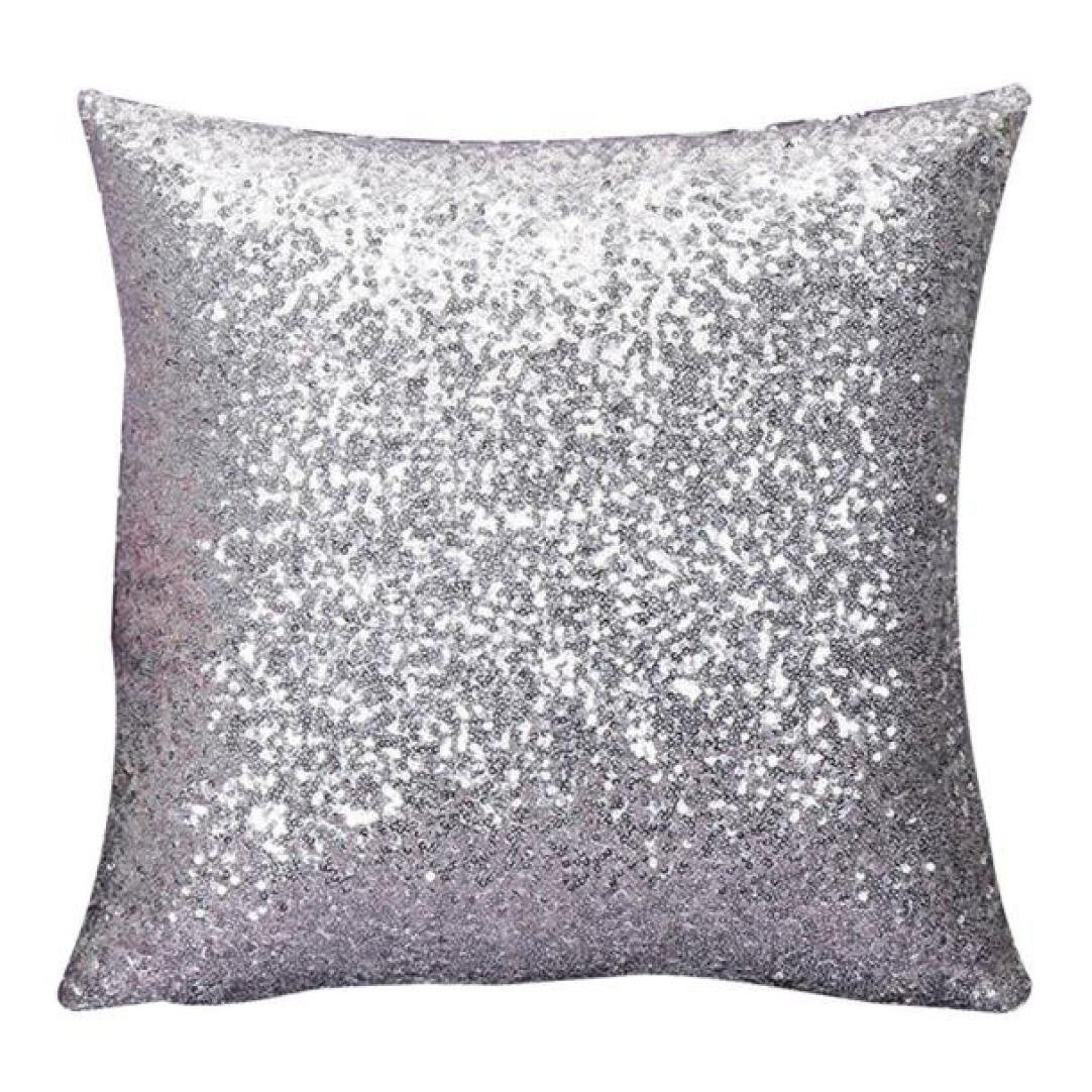 Woaills 16 x 16 Throw Pillow Case, Glitter Sequins Cushion Cover for Home Sofa Decor (Silver)