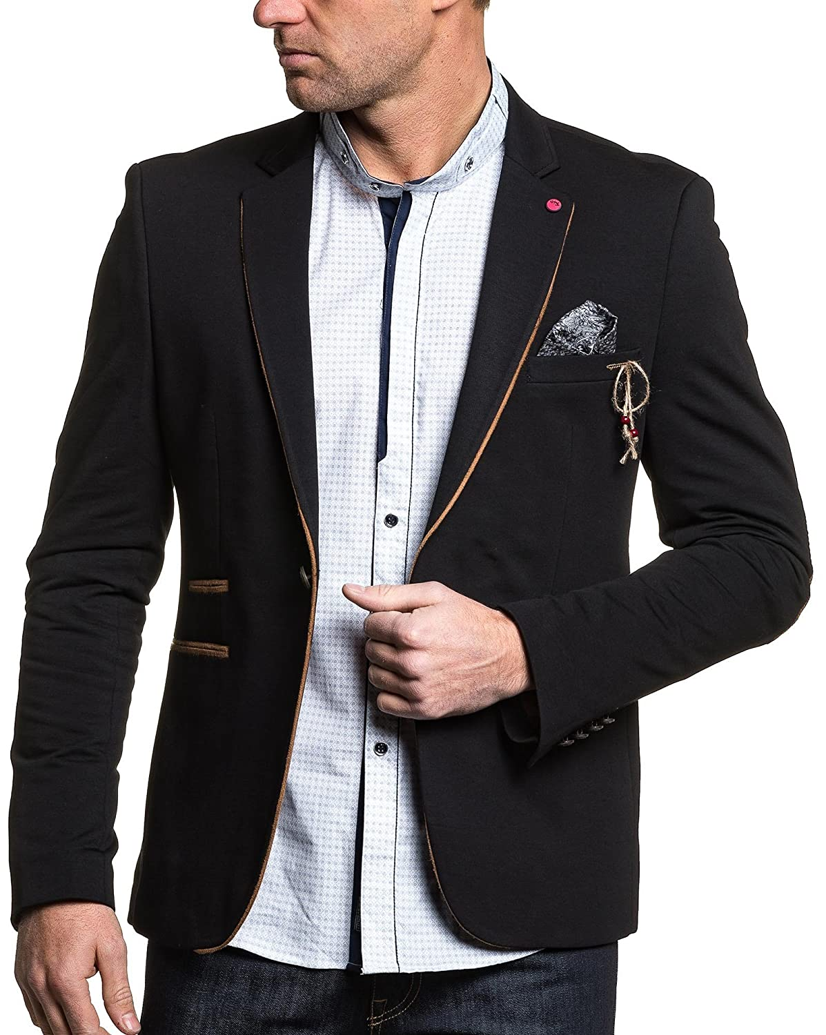 BLZ jeans - Jacket suit black man in chic brown elbow patches