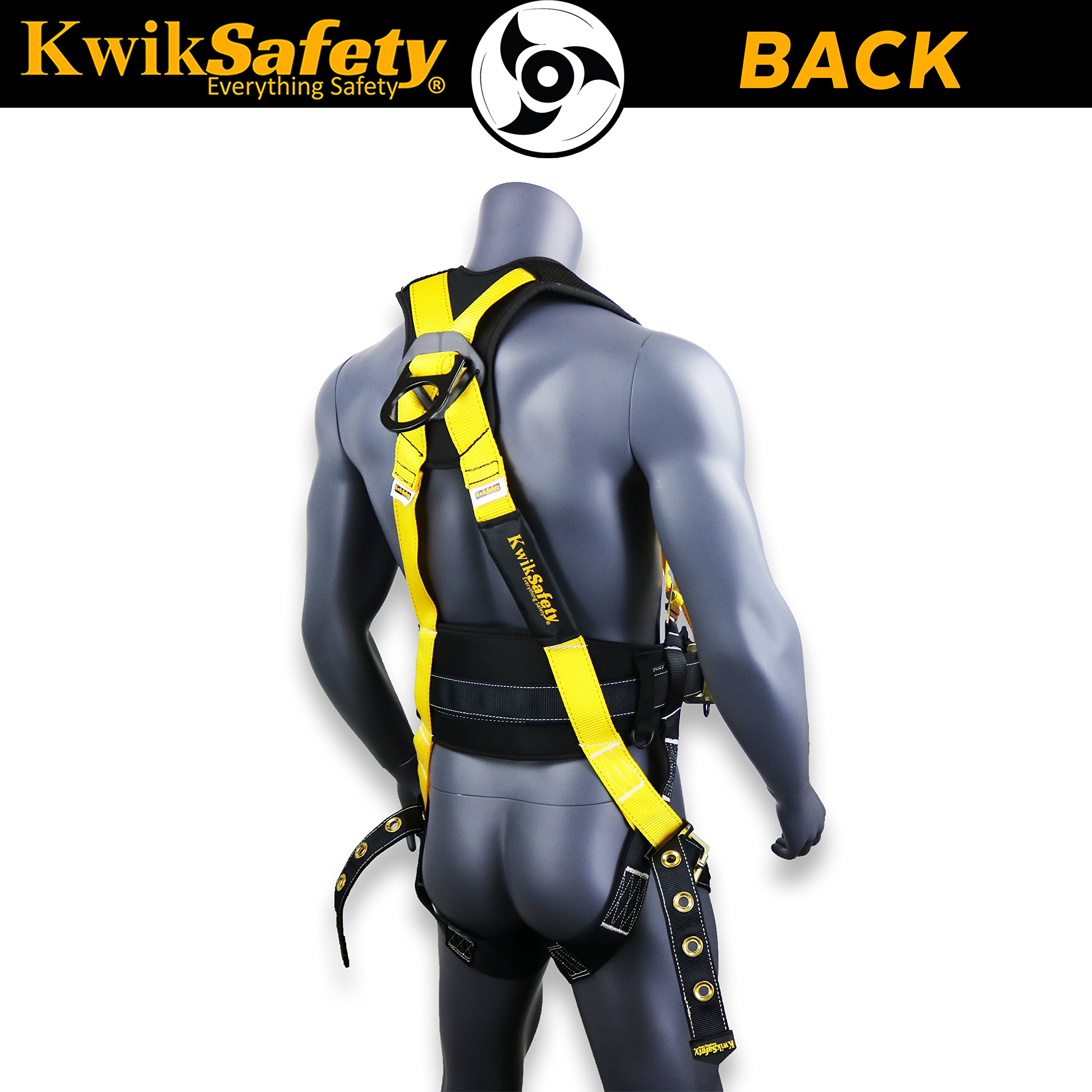 KwikSafety (Charlotte, NC) TYPHOON | ANSI Fall Protection Full Body Safety Harness | Personal Protective Equipment | Dorsal Ring Side D-Rings Grommet Leg Straps Tool Lanyard Bolt Pouch, Construction by KwikSafety (Image #3)
