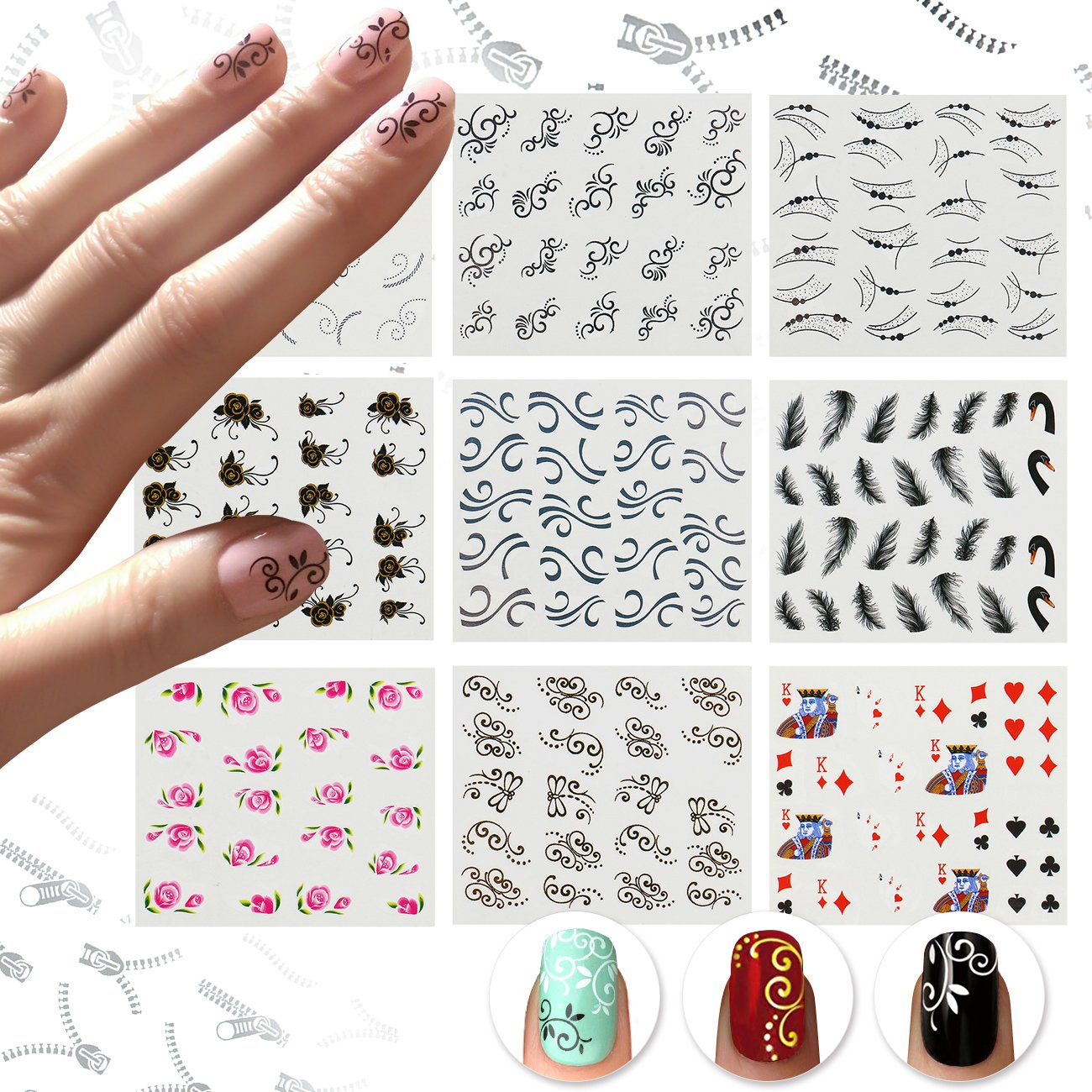 graphic relating to Printable Nail Decals titled Nicedeco 15 Sheets Nail Stickers Nail Tattoo 3D Nail Artwork Decal Drinking water Transfers Decals Nail Suggestions