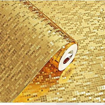 Getmorebeauty 3D Glitzer Mosaik Gold PVC Tapete Rolle Wohnzimmer BARM