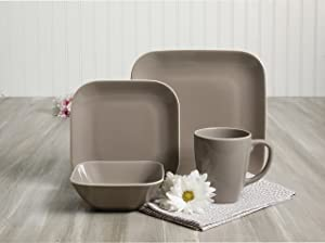 Gibson Home Dance 16 Pc Dinnerware Set Soft Square Grey Stoneware, 1, Gray