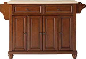 Crosley Furniture Cambridge Full Size Kitchen Island with Natural Wood Top, One, Cherry