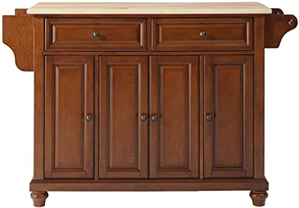 Crosley Furniture Cambridge Kitchen Island With Natural Wood Top   Classic  Cherry