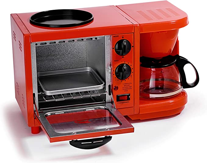 Maxi-Matic EBK-200R Coffee Maker Toaster Oven Griddle 3-in-1 Multi-function Breakfast Center, Regular, Red