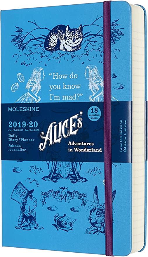 Large Blue Hard Cover 5 x 8.25 Moleskine Limited Edition Alice In Wonderland 18 Month 2019-2020 Weekly Planner