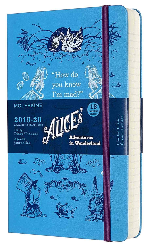 Moleskine - Agenda de 18 Meses Alicia en el País de las Maravillas Edición Limitada, Color Azul, Agenda Escolar 2019/2020 con Tapa Dura y Cierre ...