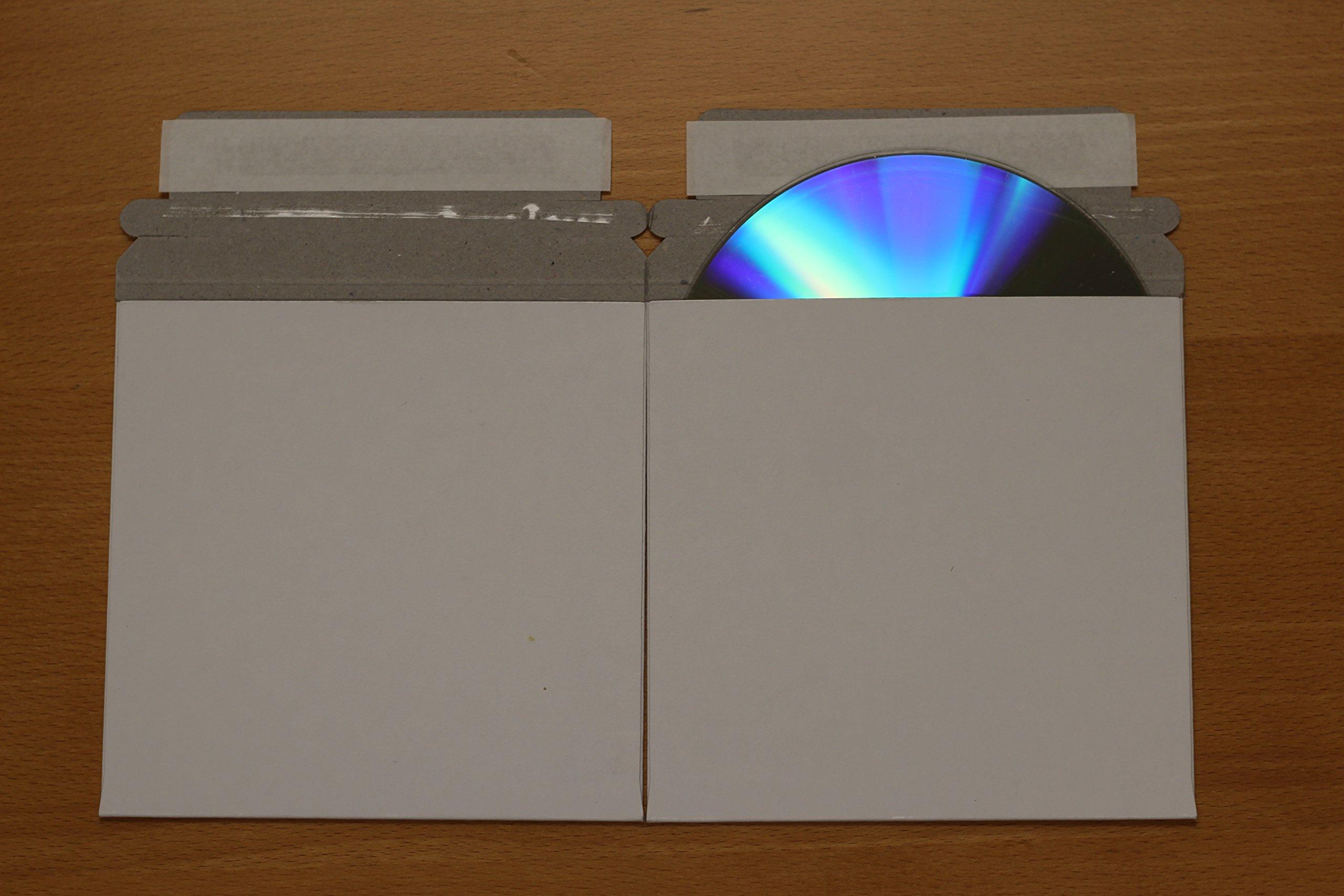 AmeriCopy CD/DVD White Cardboard Mailers, Self Sealing w/ Flap (5'' x 5'') (50 Pieces)