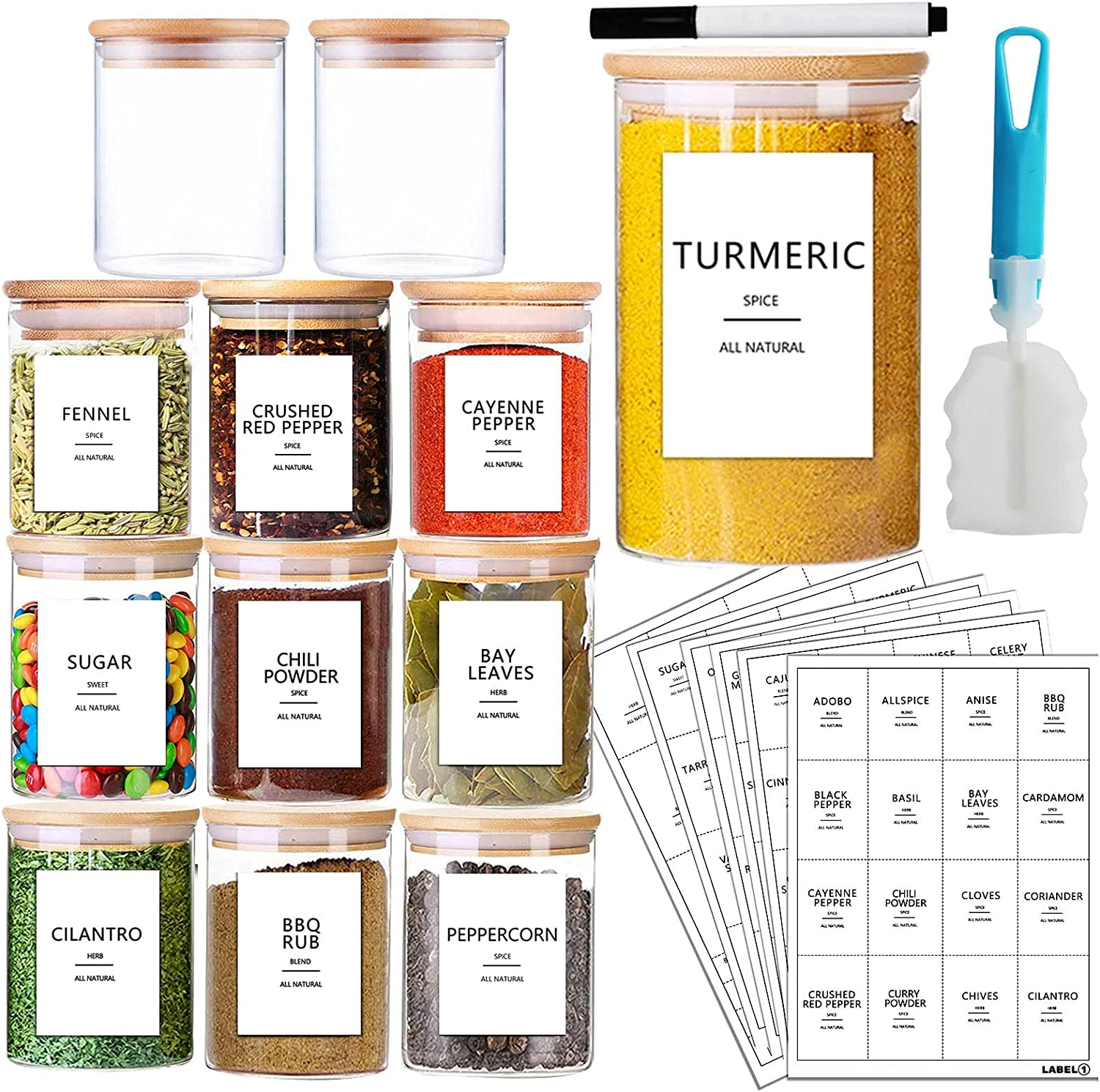 AISIPRIN 12 Pcs Glass Spice Jars with Bamboo Airtight Lids and 114 Labels - 9oz Small Food Storage Containers for Kitchen, Coffee, Herb - Marker and Brush Included