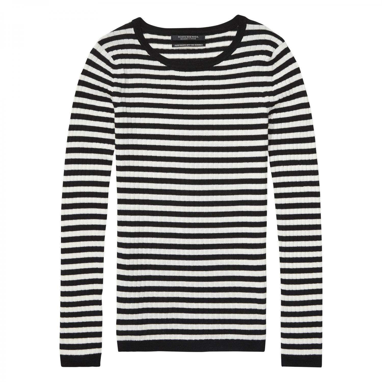 Maison Scotch Damen Pullover Long Sleeve Striped Knit 134191 Combo A M