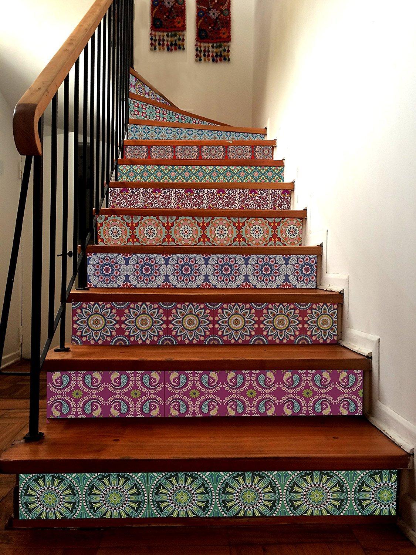 INDIA Decorative Tile Stickers Set 12 units 6x6 inches. Peel & Stick Vinyl Tiles. Home Decor. Furniture Decor. Backsplash.