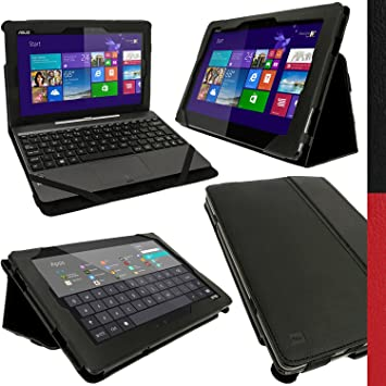 igadgitz Negro Funda Eco-Piel para Asus Transformer Book T100T Tablet & Base Dock Teclado con Sleep/Wake