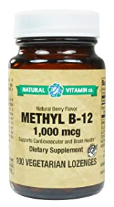 Natural Vitamin Co. - Methyl B12 1000 mcg, Natural Berry Flavor, Vitamin B12 1000 mcg, 100 Lozenges, 3+ Month Supply, Gluten Free, Vegetarian, Vegan