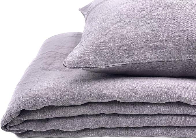 """Sweet Lilac 135x200, 40x80 Bettwäsche-Set aus 100/%Leinen /""""Stonewashed/"""""""