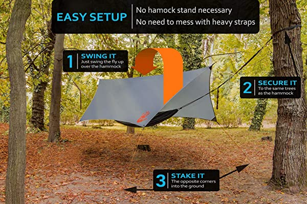 Rain Fly EVOLUTION 12x10/10x10 Hammock Waterproof Tent TARP & Survival Bracelet - 22 pcs - Lightweight - Backpacking Approved - Perfect Hammock Shelter