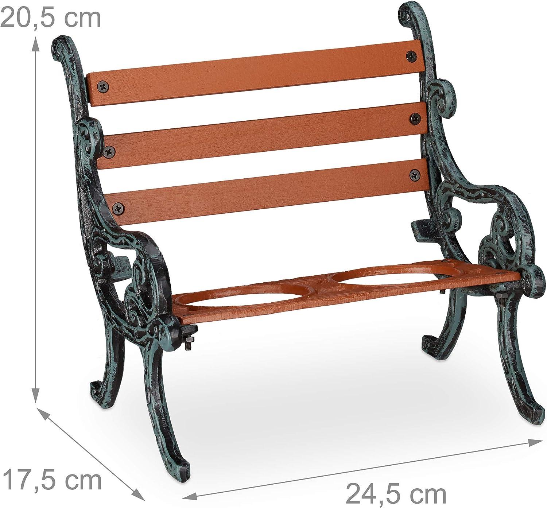 2 Macetas Relaxdays Soporte Macetas Banco Jard/ín Hierro fundido-Madera Marr/ón-Gris-Verde /Ø 7,5 cm