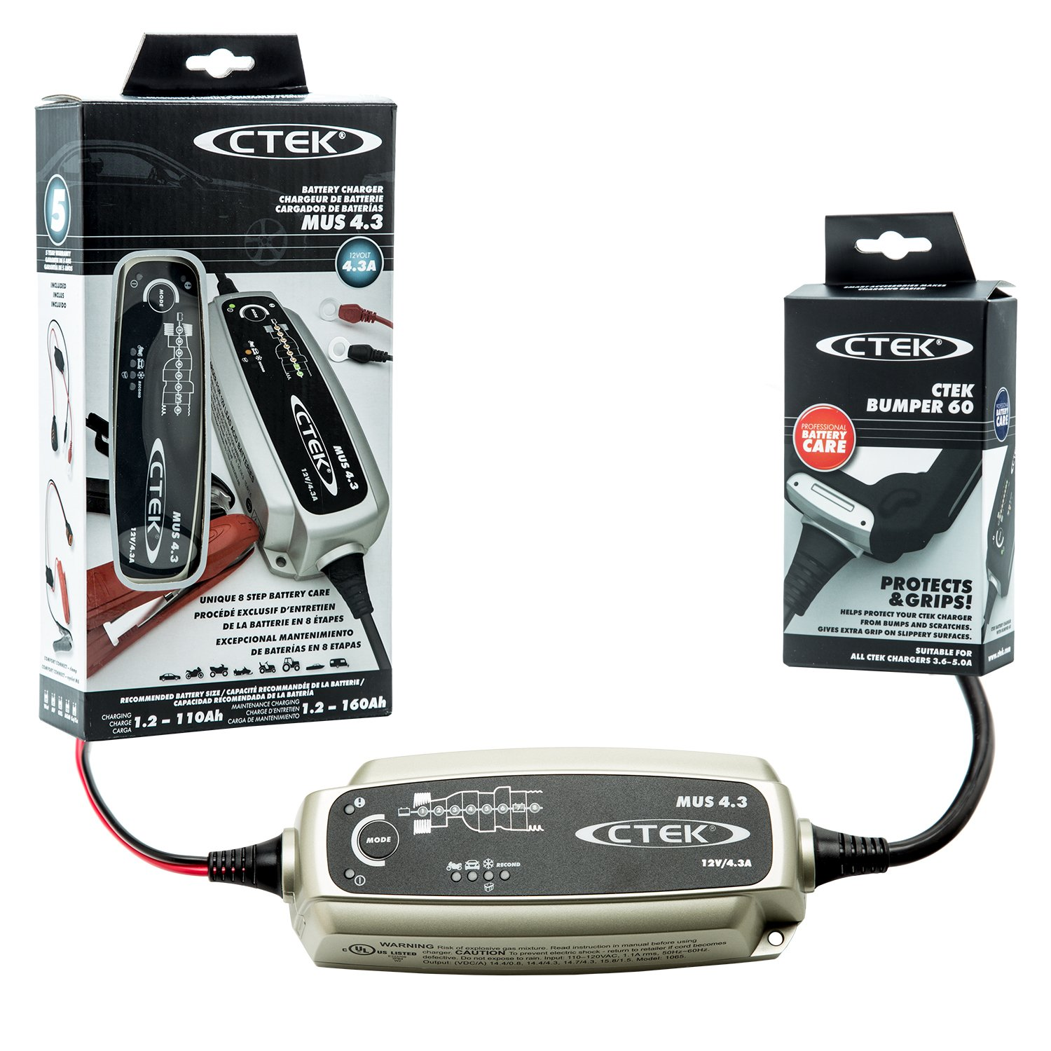 CTEK (56-864) MUS 4.3 12 Volt Fully Automatic 8 Step Battery Charger with (56-915) Black Bumper Accessory