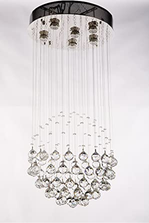 New galaxy modern chandelier raindrop 6 light crystal ball lighting new galaxy modern chandelier raindrop 6 light crystal ball lighting fixture pendant ceiling lamp h22quot aloadofball Image collections