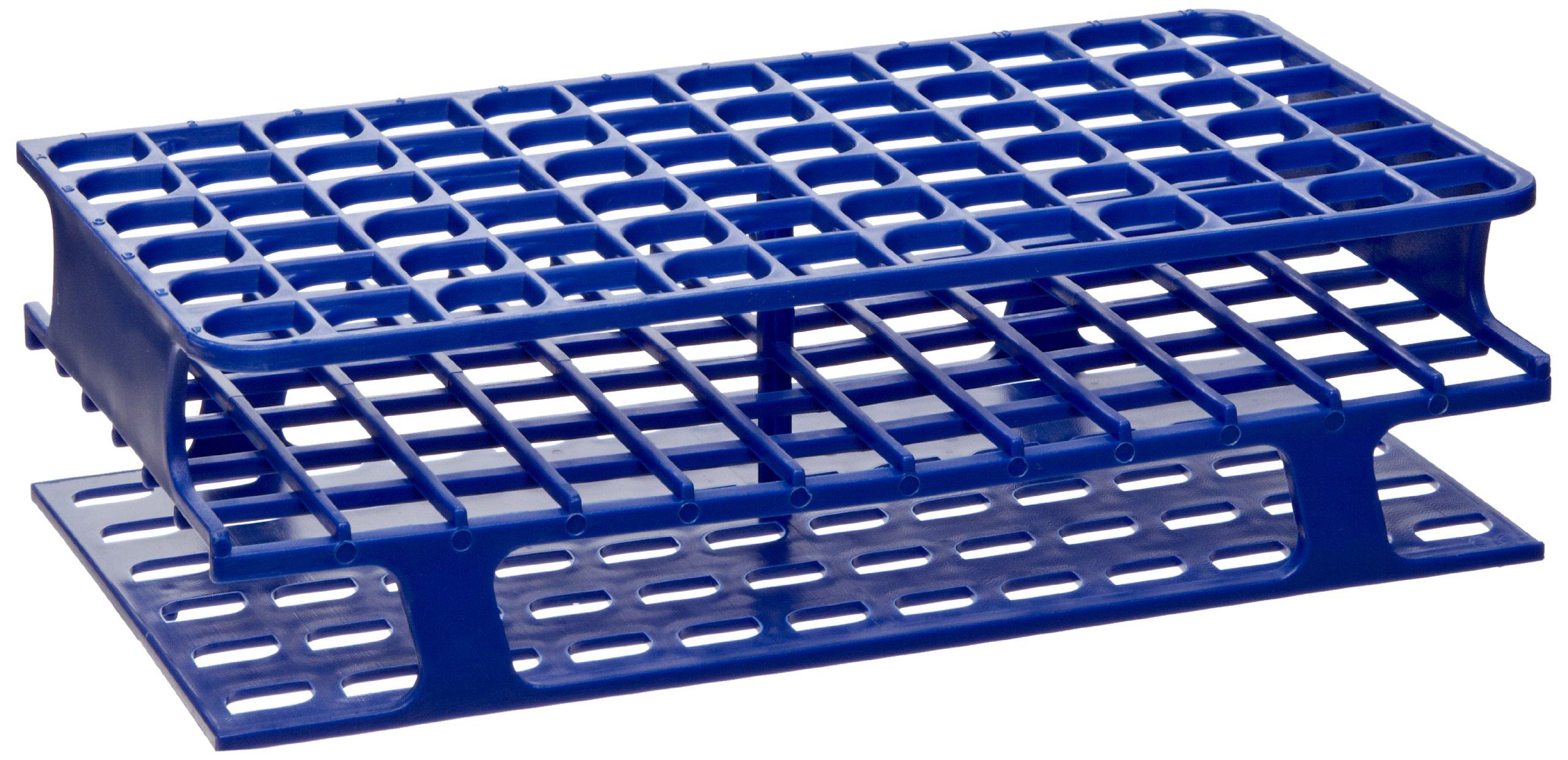 Heathrow Scientific HS27552B OneRack Tube Rack, Full Size, Polypropylene (PP), 16mm, 72 Wells, Blue (Pack of 8)