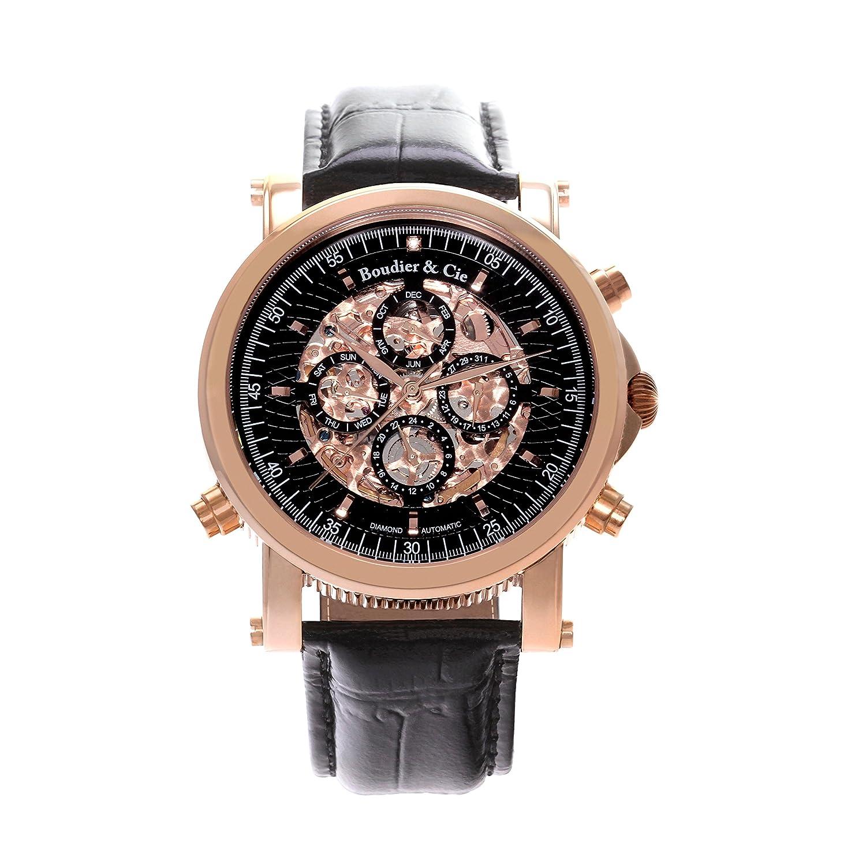 Automatik Armbanduhr von Boudier & Cie fÜr MÄnner mit einem echten Diamanten mit Schwarzem Zifferblatt Analoger
