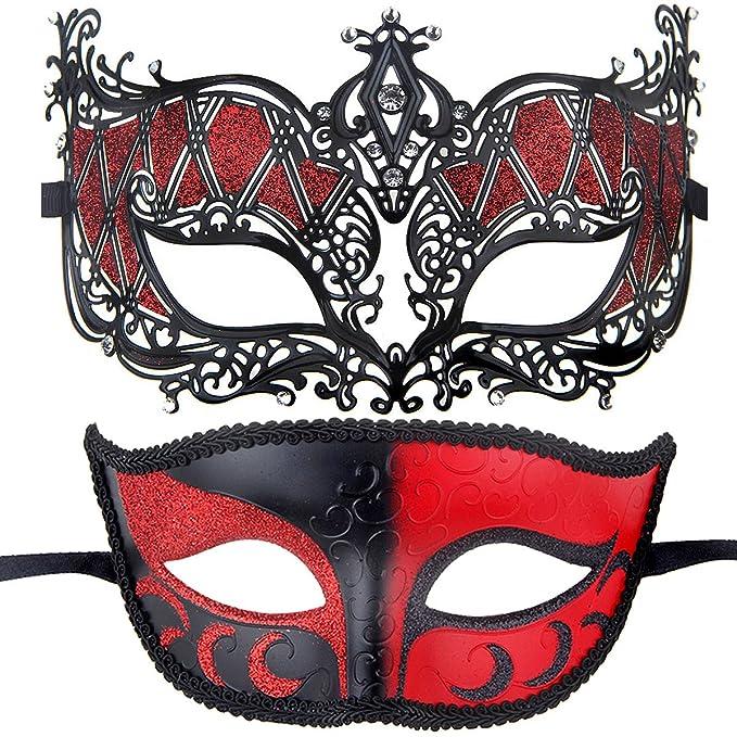 IETANG Couples Pair Half Venetian Masquerade Ball Mask Set Party Costume Accessory RedBlack