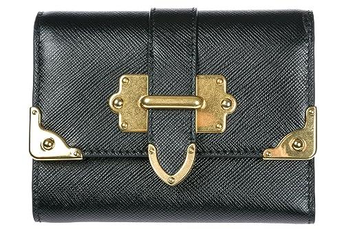 Prada monedero cartera trifold de mujer en piel nuevo negro: Amazon.es: Zapatos y complementos